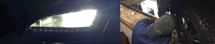 замена ламп в ПТФ Hyundai Santa Fe 2014 (DM)