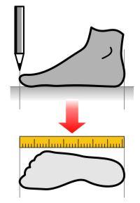 Измерение стопы для подбора степок