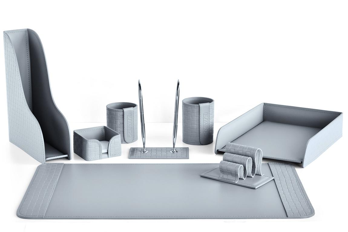 настольный Набор из кожи серый из 8 предметов: