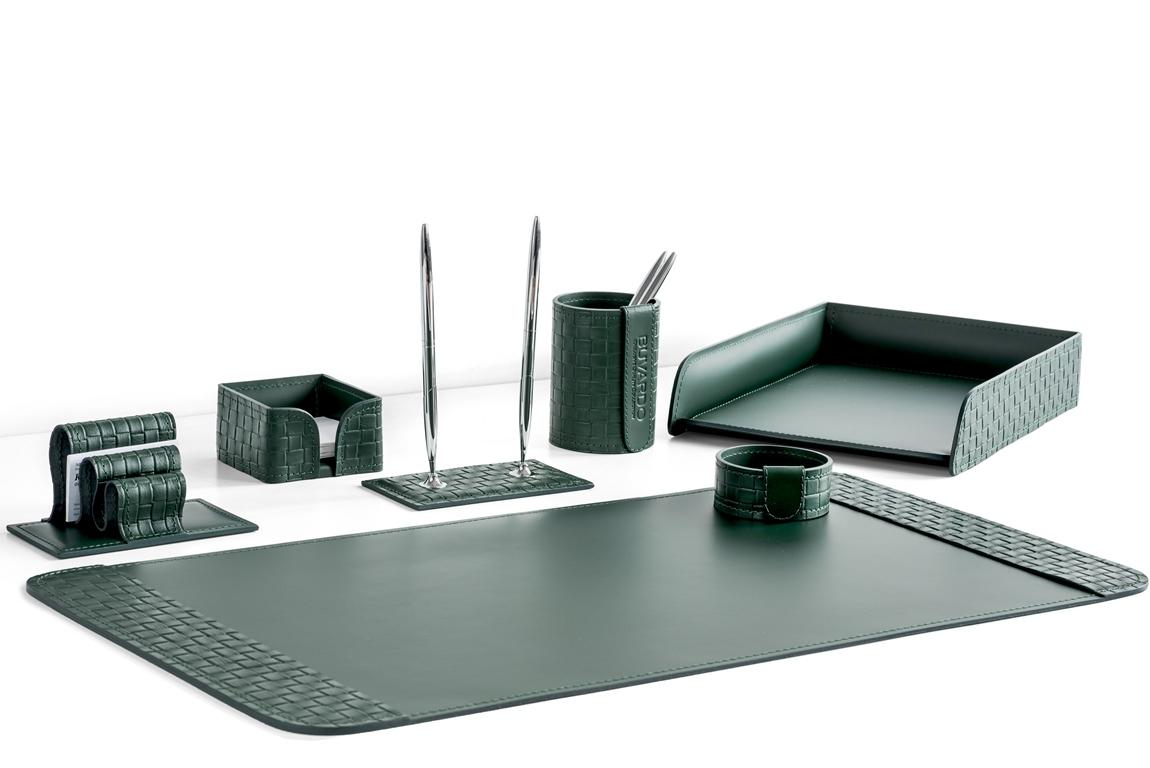 Набор на стол из 7 предметов из натуральной кожи Cuoietto с отделкой из тисненой кожи с эффектом переплетения: