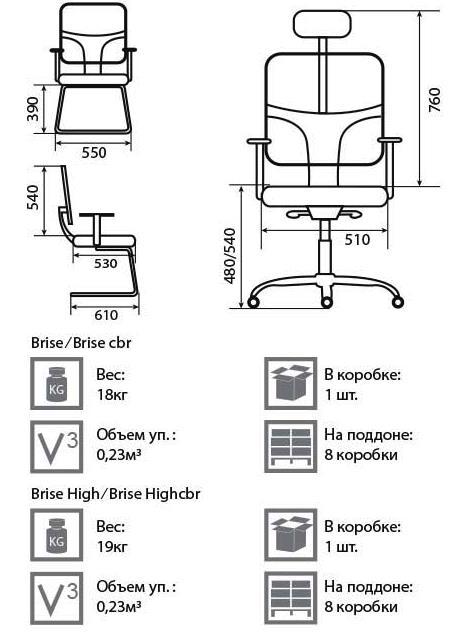 Кресло Бриз размеры