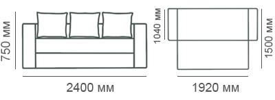 габаритные размеры дивана-кровати Рио-4