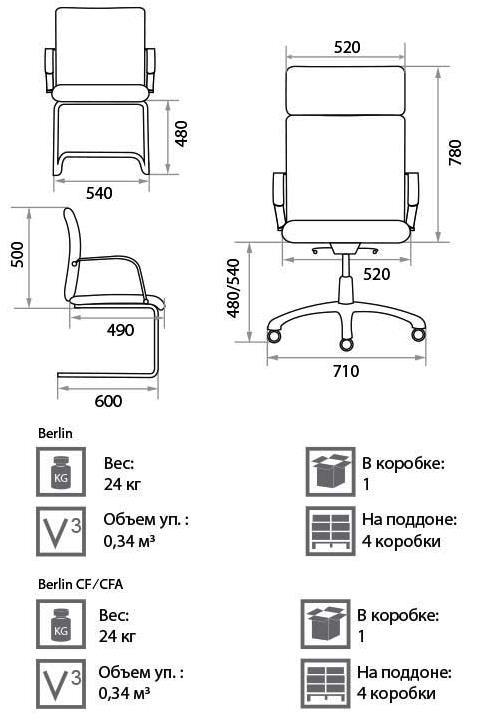 Кресло Берлин размеры