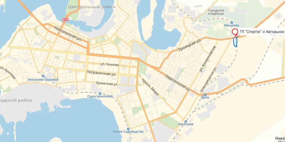 Авторинок на карті Миколаєва