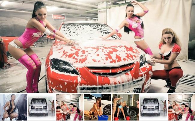 Мойка автомобиля с помощью специальных шампуней и пены.