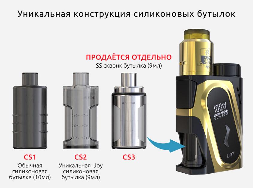 Уникальная конструкция силиконовых бутылок iJOY CAPO Squonker Kit