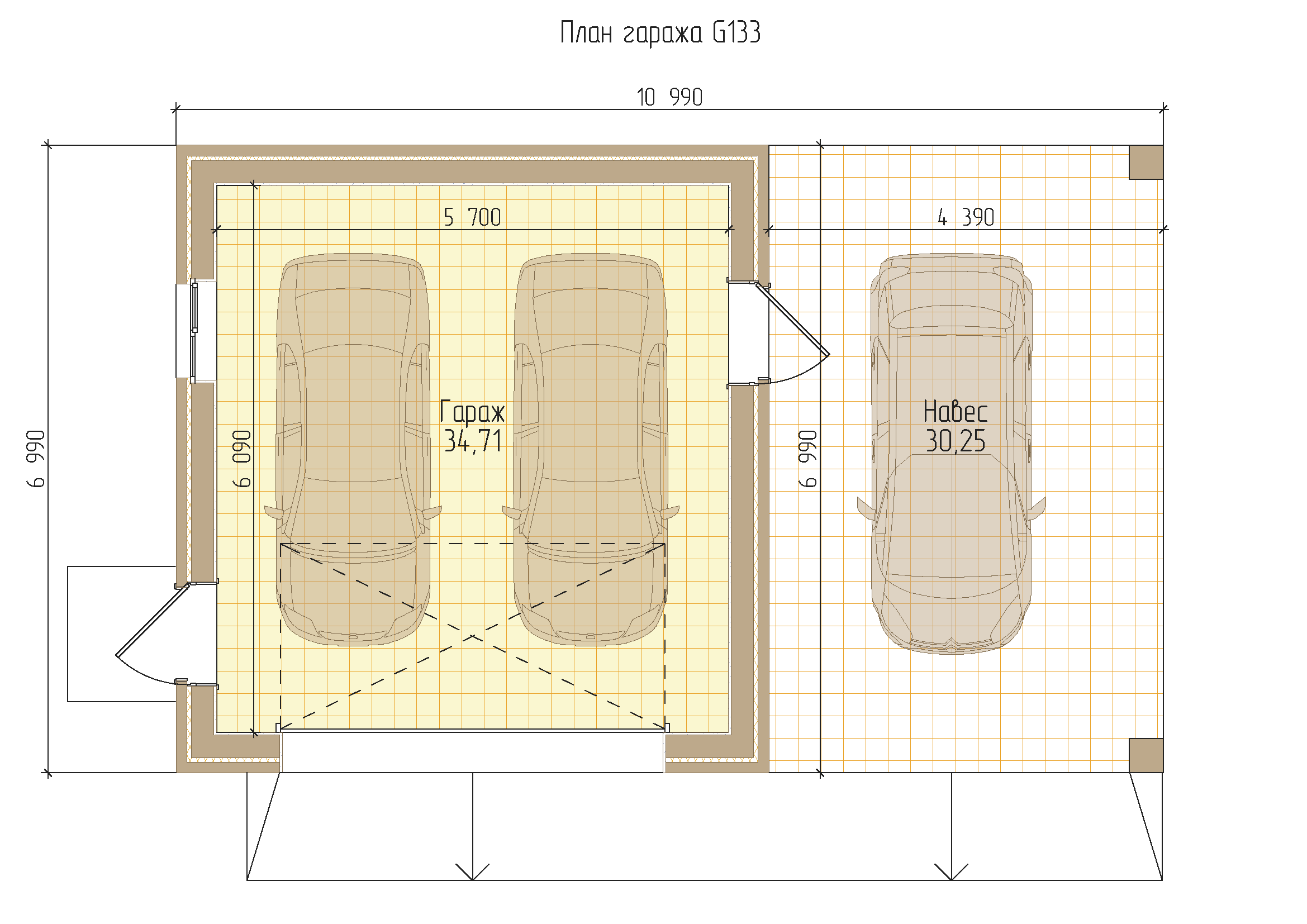 Проект гаража на 3 машины с навесом
