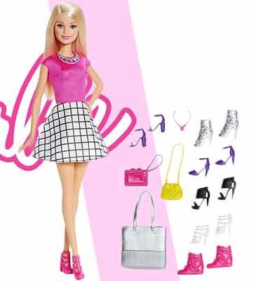 Кукла Barbie Блондинка с набором модных туфелек