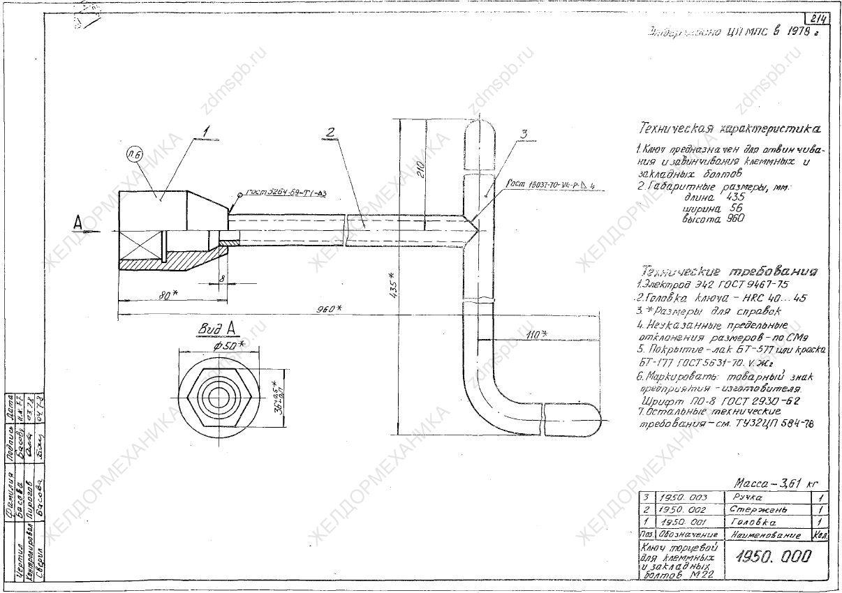 ТУ 32 ЦП 587-78 чертёж 1950.000 Ключ торцевой для клеммных и закладных болтов М22