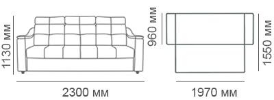 габаритные размеры 3-местного дивана Макс-П8