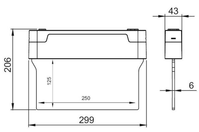 Размеры эвакуационного указателя Nashi S 3PLED C434 TEST