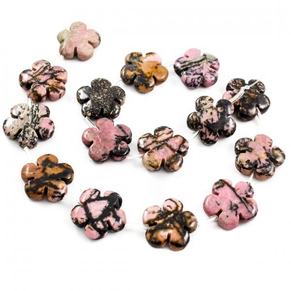 Родонитовые бусины в форме цветочков