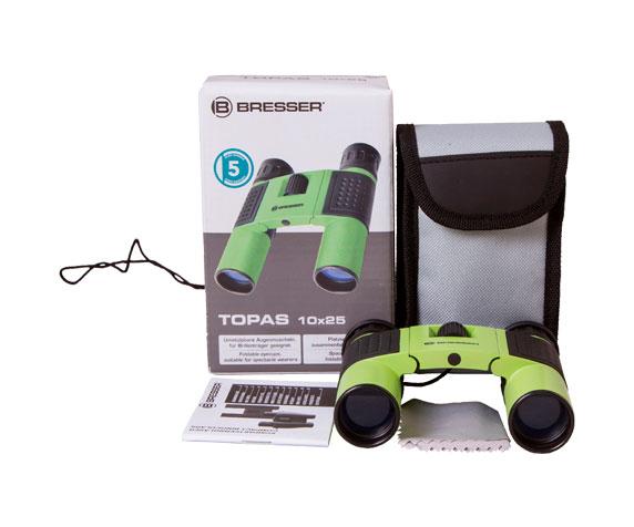 Бинокль Bresser Topas 10x25 Green: комплект поставки