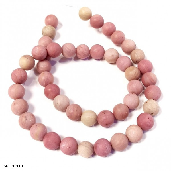 Бусины из розового родонита