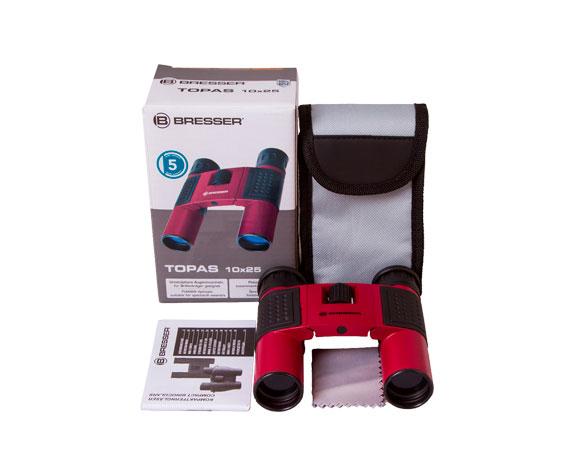 Бинокль Bresser Topas 10x25 Red: комплект поставки