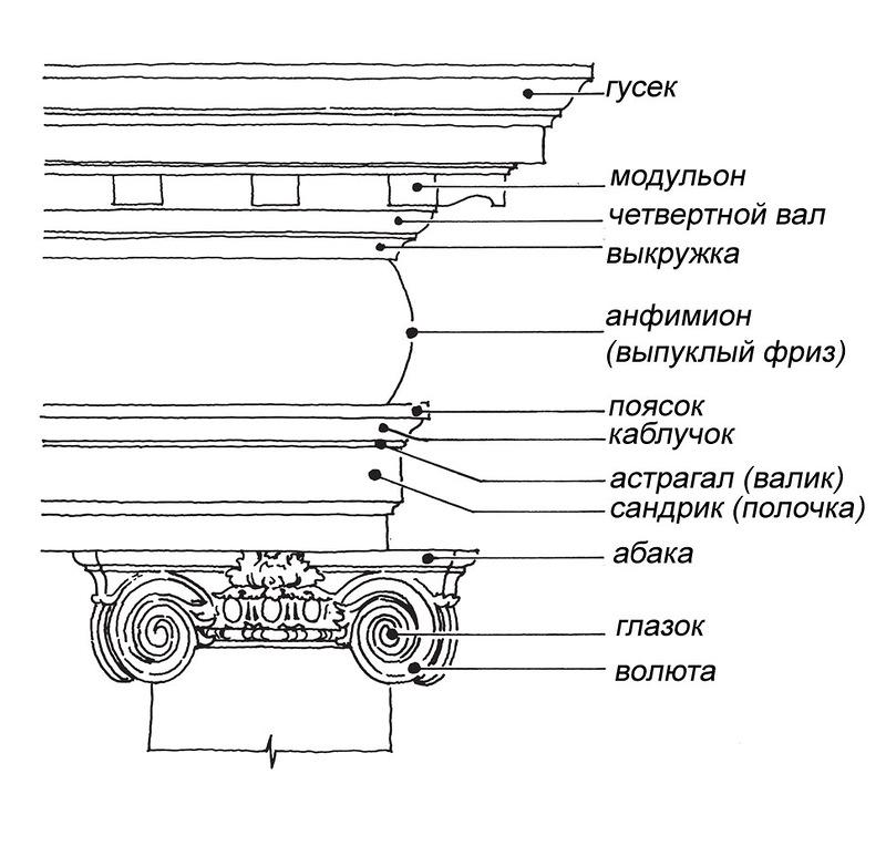 Расположение и название профилей Ионический ордер