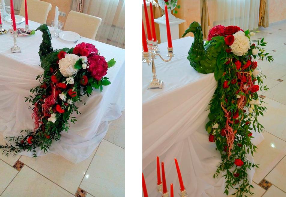 Птица из пенопласта и цветов для свадьбы