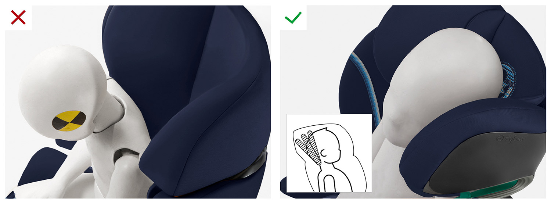 ОТКИДНОЙ ПОДГОЛОВНИК Запатентованный наклонный подголовник предотвращает опрокидывание головы ребенка вперед во время сна. Это гарантирует, что голова ребенка все время остается в зоне безопасности, что особенно важно при боковом ударе.
