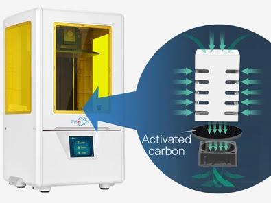3D-принтер Photon S оснащен двумя вентиляторами за фильтрами с активированным углем, чтобы минимизировать запах смолы во время 3D-печати.