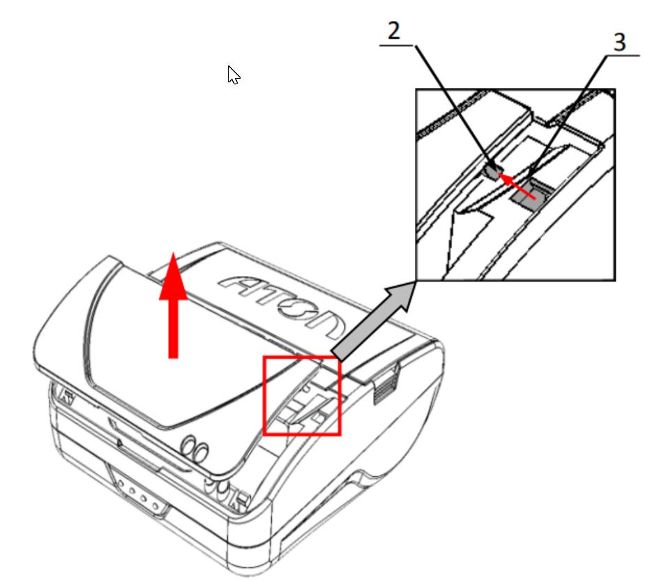 Освободить фиксаторы крышки 2 из пазов 3 в  центральной части корпуса ККТ Атол 15Ф.