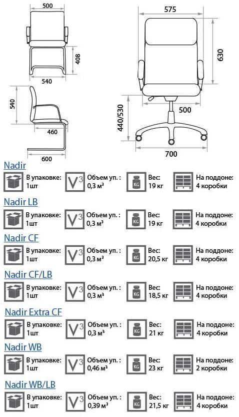 Кресло Надир размеры