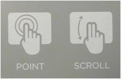 Вертикальная прокрутка двумя пальцами, вверх или вниз.