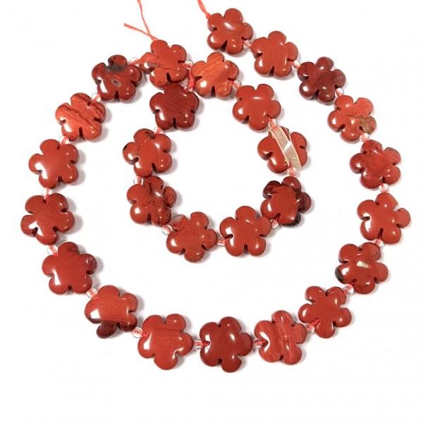 Бусины из яшмы в форме цветка