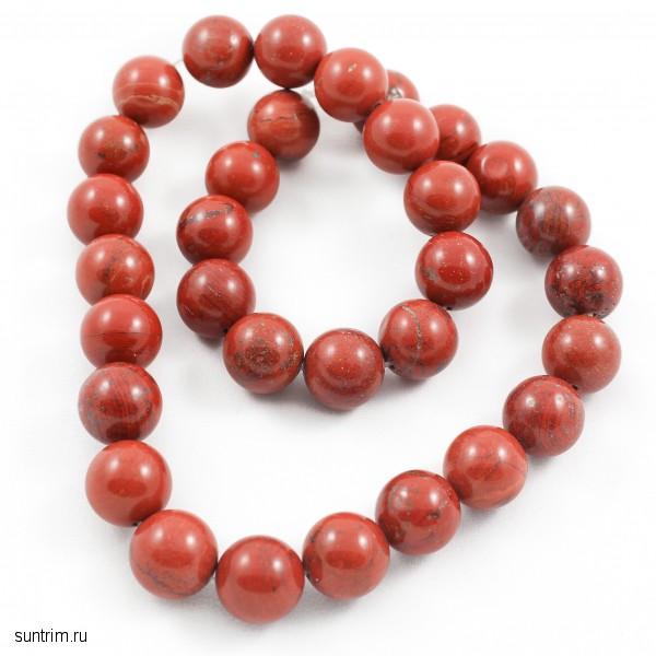Бусины из красной яшмы в форме шара