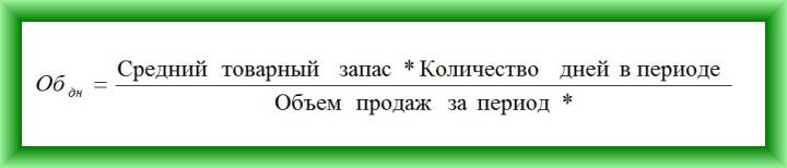 Формула расчета оборачиваемости товаров в днях №1