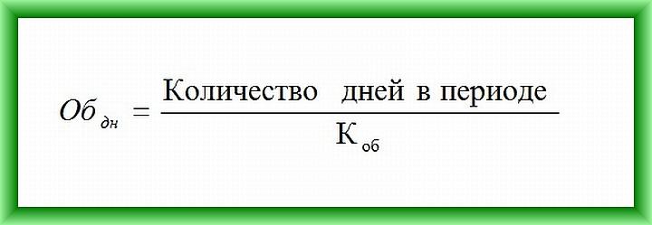 Формула расчета оборачиваемости товаров в днях №2