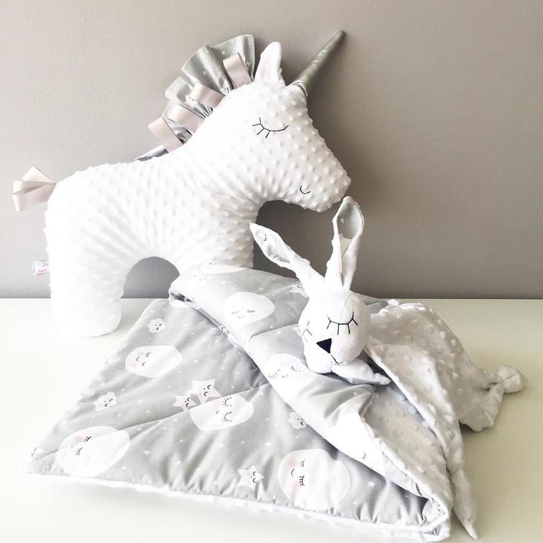 Детское одеяло из плюша минки и хлопка