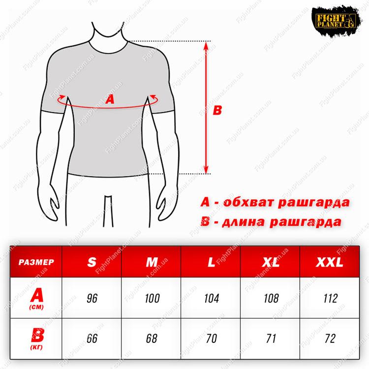 Размерная сетка таблица рашгард Peresvit короткий рукав