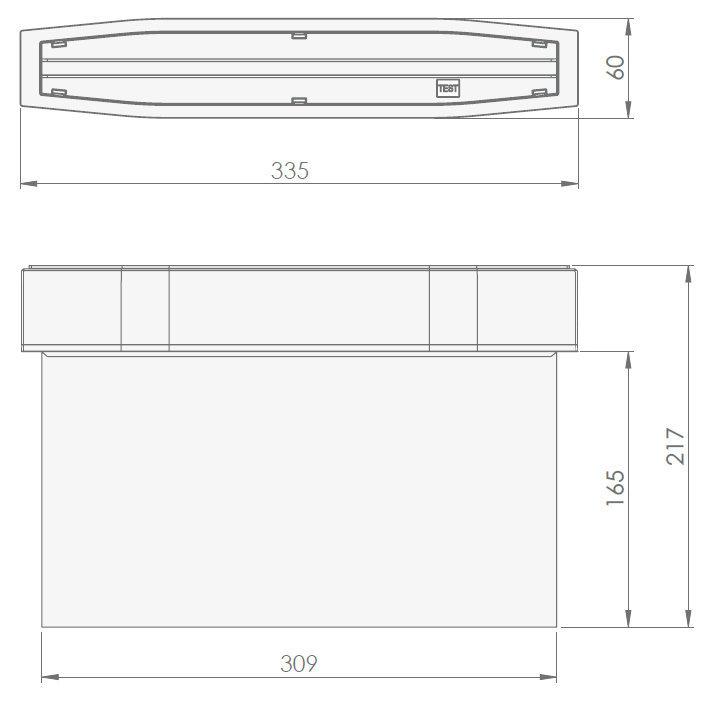Размеры светового указателя эвакуационного выхода Suprema LED D-std NT IP54