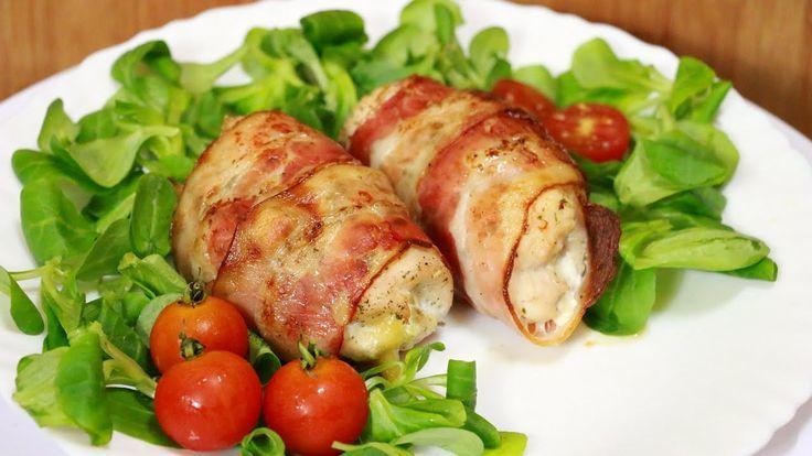рулетики из куриной грудки и бекона с сыром моцарелла