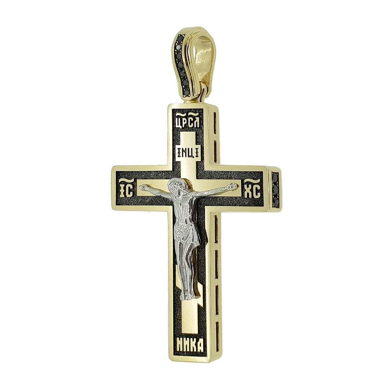 Эксклюзивный мужской нательный крест из комбинированного желтого и белого золота 585 пробы с черными бриллиантами.