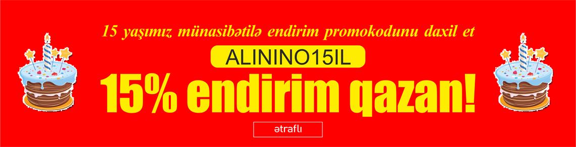 15 yaşımız münasibətilə 15% endirim!