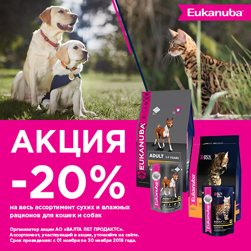 Скидка 20% на корма Eukanuba