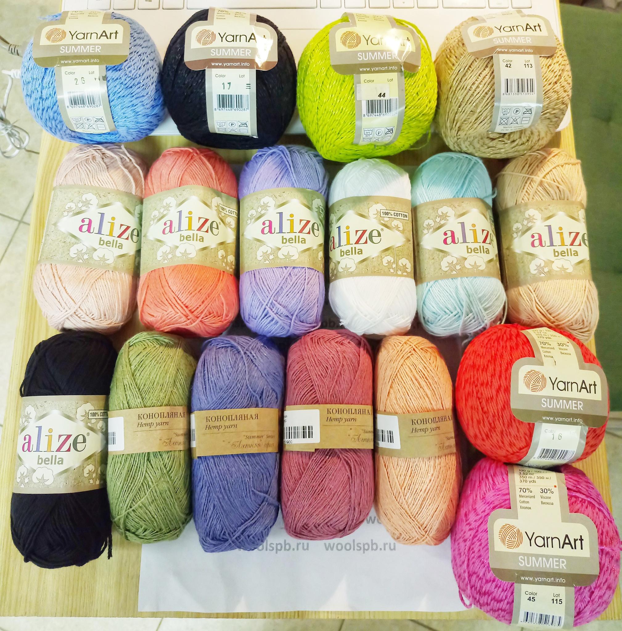 Хлопок Bella (Alize), Конопляная (Пехорка) и Summer (Yarn Art) в нашем магазине!