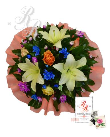 Букеты герберы и лилии
