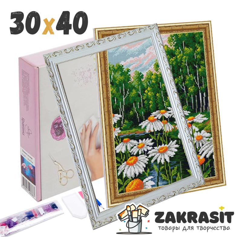 Алмазные мозаики с багетами  30х40