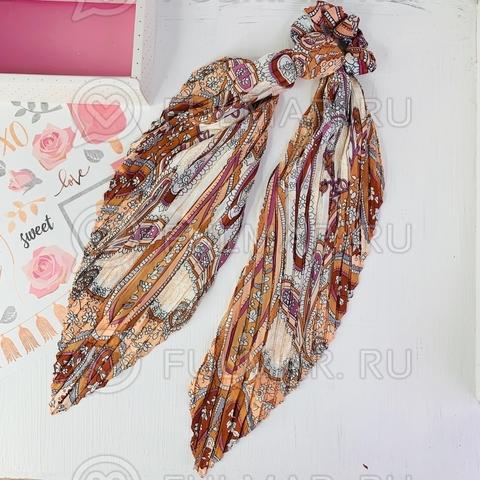 Плиссированный платок с резинкой модный аксессуар для волос Карамель (цвет: кофейный)