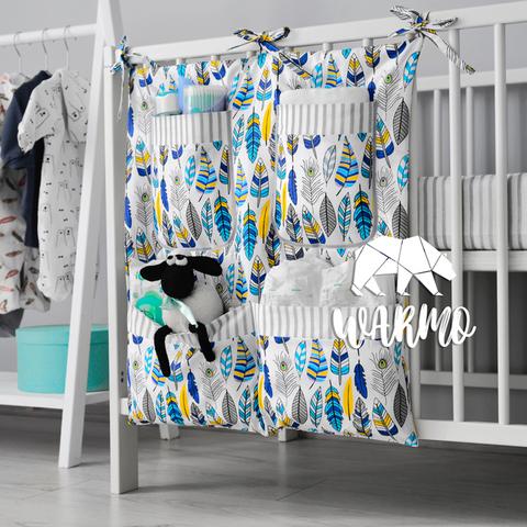 органайзер на ліжечко з голубим пір'ям фото