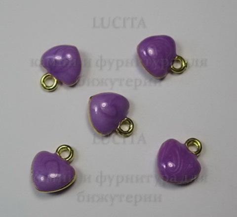 """Подвеска с эмалью """"Фиолетовое сердечко"""" 11х10 мм (цвет - золото)"""