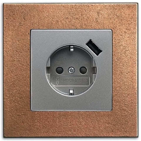 Розетка электрическая SCHUKO с заземлением и шторками, USB зарядкой с защитой от перегрузки и КЗ, 16А 250В. Цвет Нержавеющая сталь. ABB (АББ). Dynasty/Solo/Future/Axcen/Carat/Pure. 2011-0-6184