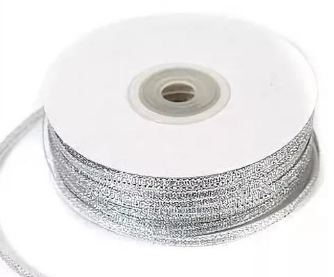 Лента парча 7мм х 25ярд серебро