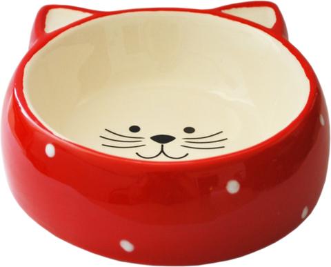 №1 Миска керамическая кошачья мордочка красная горох