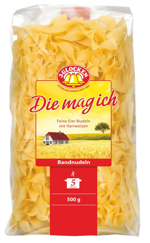 Лапша короткая прямая Bаndnudeln Die mag ich 3 Glocken, 500г