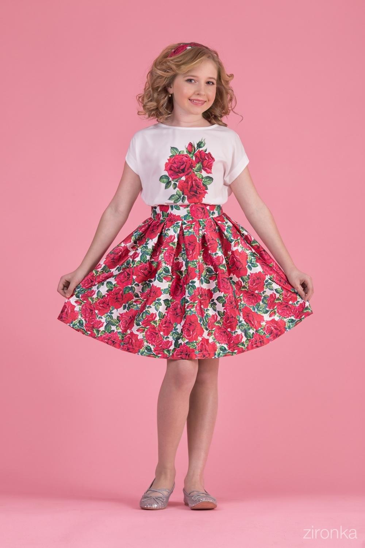 Комплект (блузка, юбка) разноцветный для девочки 64-8007-5