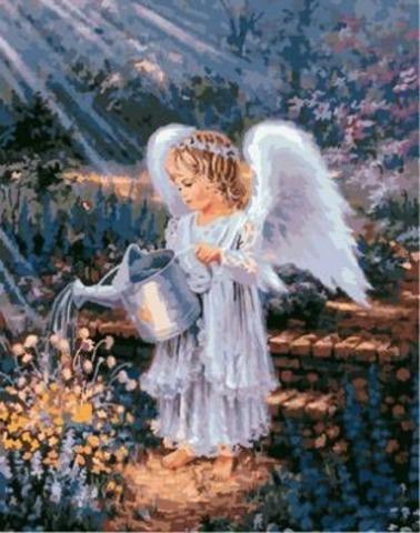Картина раскраска по номерам 30x40 Ангелок поливает цветы