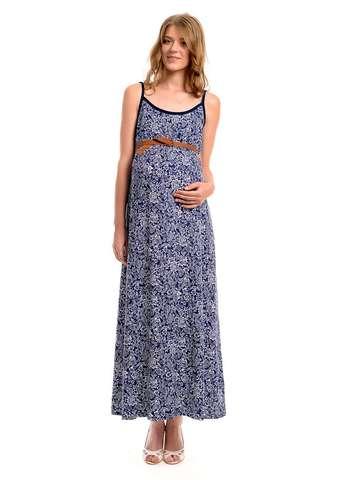 Сарафан для беременных цвет темно-синий флора